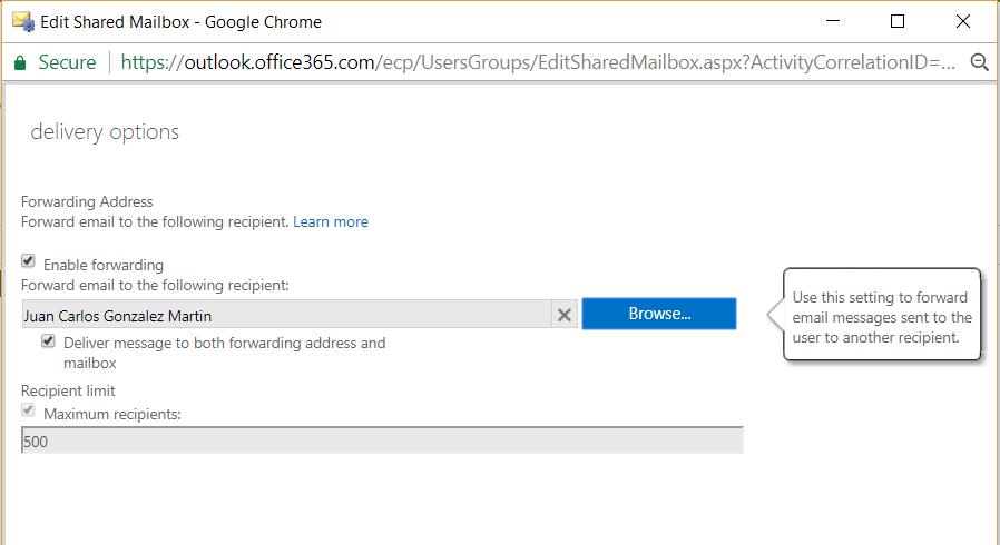 Office 365 como configurar el re env o de correo en for Correo la 14